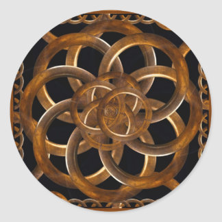 Refined Wood Decorative Background Round Stickers