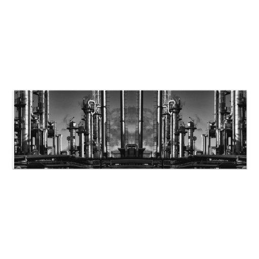 refinería petroquímica del petróleo y gas gigante, impresión fotográfica