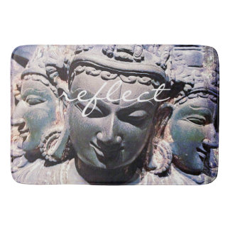 """Reflect"" Quote Asian Stone Faces Statue Photo Bath Mat"