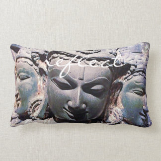 """Reflect"" Quote Asian Stone Faces Statue Photo Lumbar Pillow"