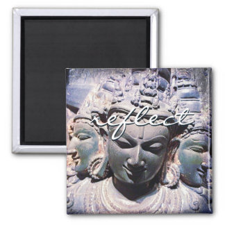 """Reflect"" quote Asian stone faces statue photo Magnet"