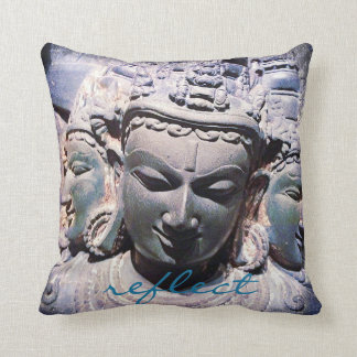 """Reflect"" Quote Asian Stone Faces Statue Photo Throw Pillow"