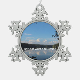 Reflect What You Desire Quote Loch Raven Reservoir Snowflake Pewter Christmas Ornament