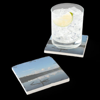 Reflect What You Desire Quote Loch Raven Reservoir Stone Coaster