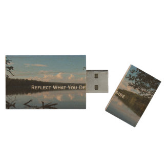 Reflect What You Desire Quote Loch Raven Reservoir Wood Flash Drive
