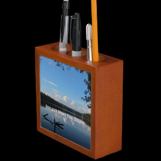 Reflect What You Desire Quote Pencil Cup / Desk Organizer