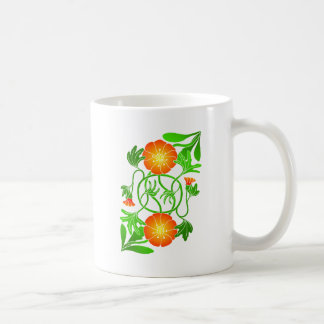 Reflected flower with entwined stems coffee mug