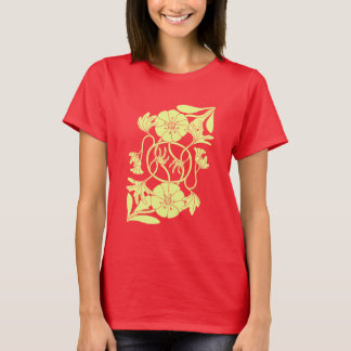 Reflected flower with entwined stems t-shirt
