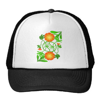 Reflected flower with entwined stems trucker hat