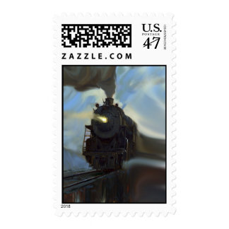 Reflected Train Postage Stamp