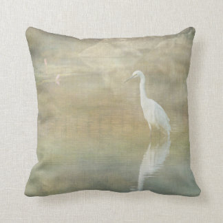 Reflecting Egret Throw Pillow