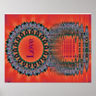 Reflecting Love Red Purple Mandala Pattern Poster