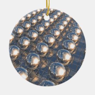 Reflecting Metal Spheres Ceramic Ornament