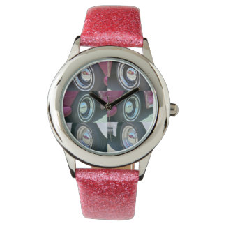 Reflecting Moons Pink Glitter Strap Watch