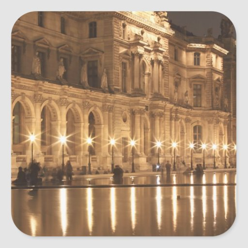 Reflecting pool at the Louvre, Paris, France Square Sticker