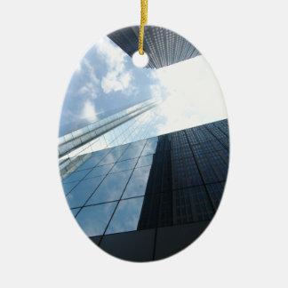 Reflecting Skyscrapers Ceramic Ornament