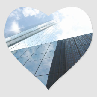 Reflecting Skyscrapers Heart Sticker