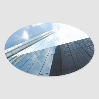 Reflecting Skyscrapers Oval Sticker