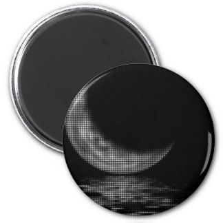 Reflection Crescent Moon Black & White 2 Inch Round Magnet