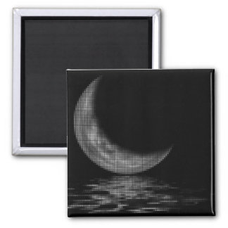 Reflection Crescent Moon Black & White 2 Inch Square Magnet