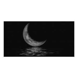 Reflection Crescent Moon Black & White Card