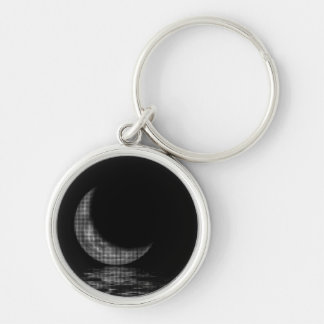 Reflection Crescent Moon Black & White Keychain