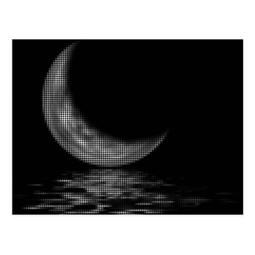Reflection Crescent Moon Black & White Postcard