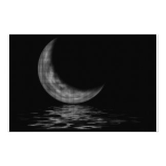 Reflection Crescent Moon Black & White Personalized Stationery