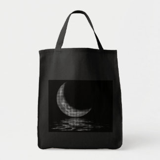 Reflection Crescent Moon Black & White Tote Bag