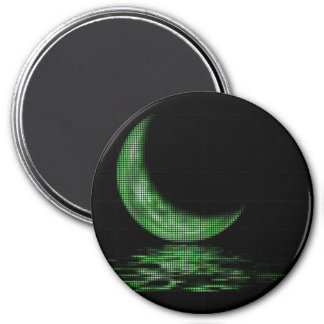 Reflection Crescent Moon On Lake Green 3 Inch Round Magnet