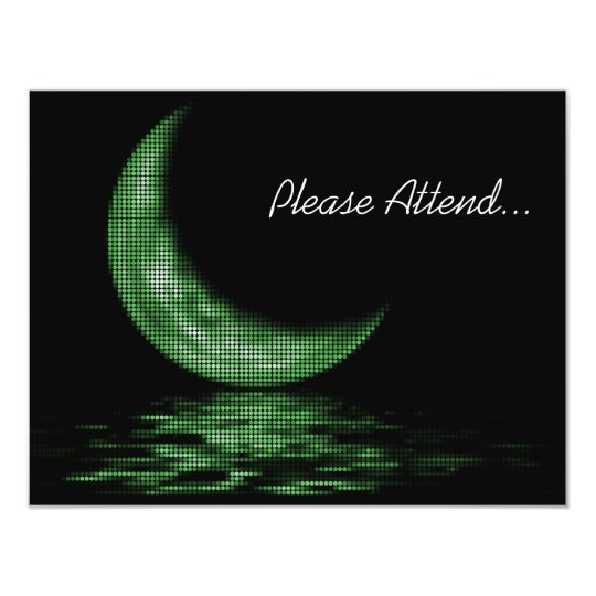 Reflection Crescent Moon On Lake Green Card