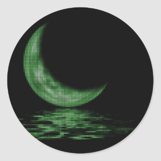 Reflection Crescent Moon On Lake Green Classic Round Sticker
