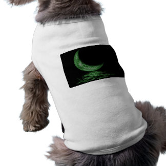 Reflection Crescent Moon On Lake Green Dog T Shirt