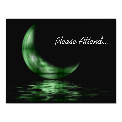 Reflection Crescent Moon On Lake Green 4.25x5.5 Paper Invitation Card