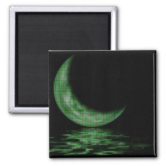 Reflection Crescent Moon On Lake Green Fridge Magnet