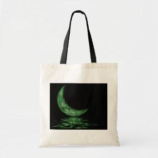 Reflection Crescent Moon On Lake Green Tote Bag