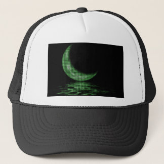 Reflection Crescent Moon On Lake Green Trucker Hat