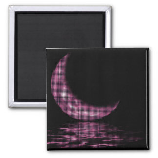 Reflection Crescent Moon On Lake Pink 2 Inch Square Magnet