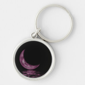 Reflection Crescent Moon On Lake Pink Keychain