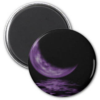 Reflection Crescent Moon On Lake Purple 2 Inch Round Magnet