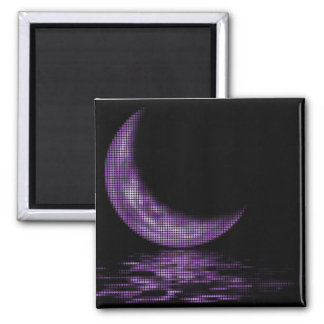 Reflection Crescent Moon On Lake Purple 2 Inch Square Magnet