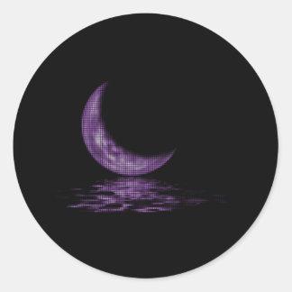 Reflection Crescent Moon On Lake Purple Classic Round Sticker