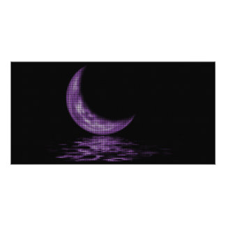 Reflection Crescent Moon On Lake Purple Personalized Photo Card