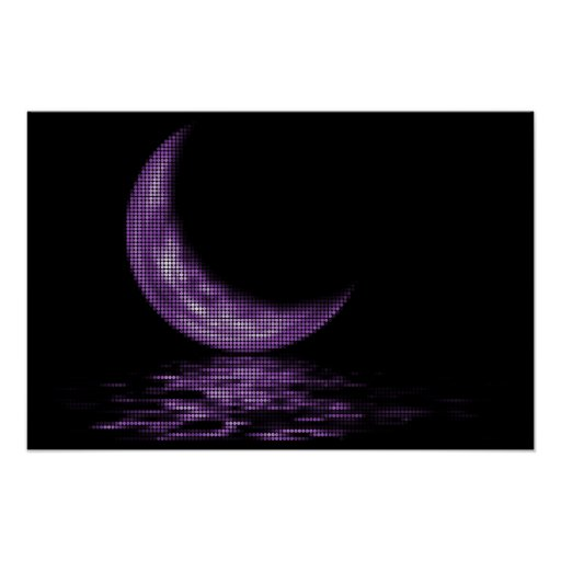 Reflection Crescent Moon On Lake Purple Poster