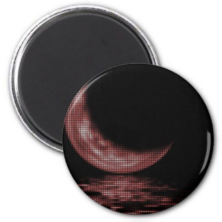 Reflection Crescent Moon On Lake Red 2 Inch Round Magnet