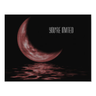 Reflection Crescent Moon On Lake Red Card