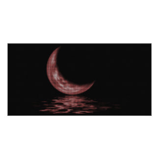 Reflection Crescent Moon On Lake Red Photo Card