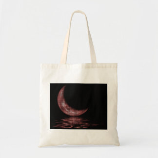 Reflection Crescent Moon On Lake Red Tote Bag