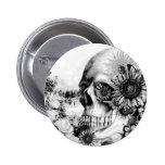 Reflection. Floral landscape skull. 2 Inch Round Button