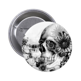 Reflection. Floral landscape skull. 2 Inch Round Button
